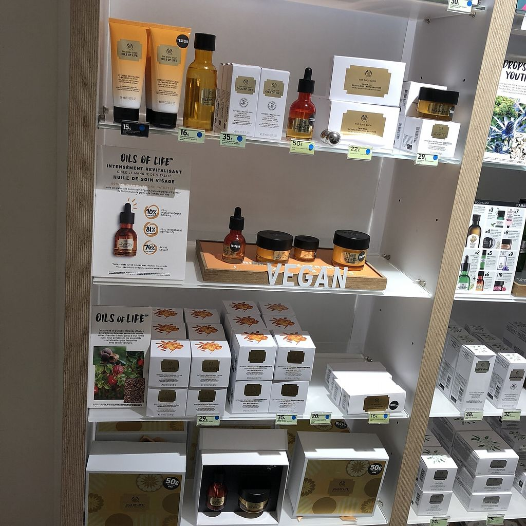 """Photo of The Body Shop - Provence  by <a href=""""/members/profile/TARAMCDONALD"""">TARAMCDONALD</a> <br/>Vegan skincare <br/> April 12, 2018  - <a href='/contact/abuse/image/117587/384755'>Report</a>"""