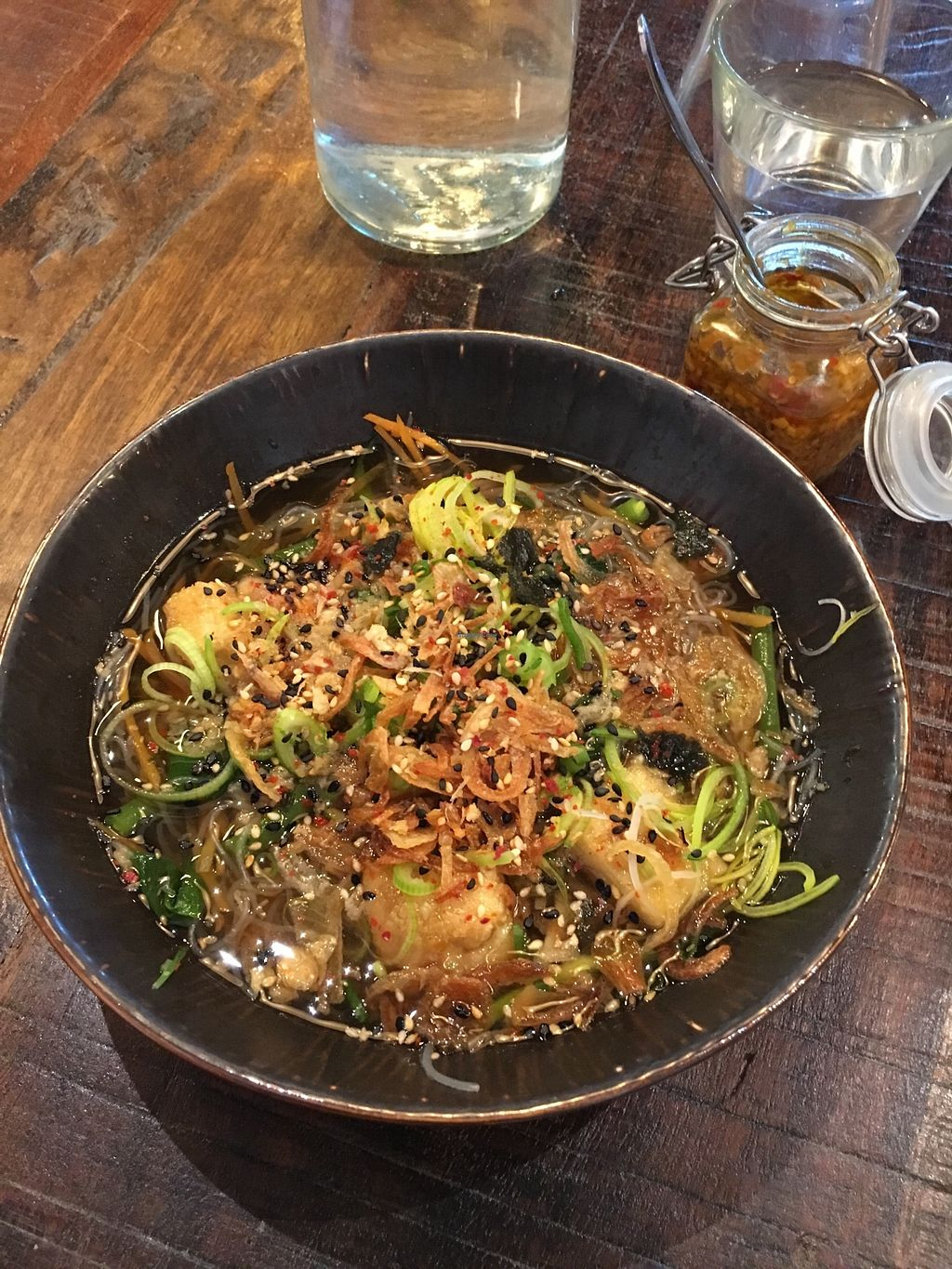 """Photo of Pobre  by <a href=""""/members/profile/SeitanSeitanSeitan"""">SeitanSeitanSeitan</a> <br/>Vegetarian Lomi and superb garlic and chili paste.  <br/> April 14, 2018  - <a href='/contact/abuse/image/117615/385567'>Report</a>"""