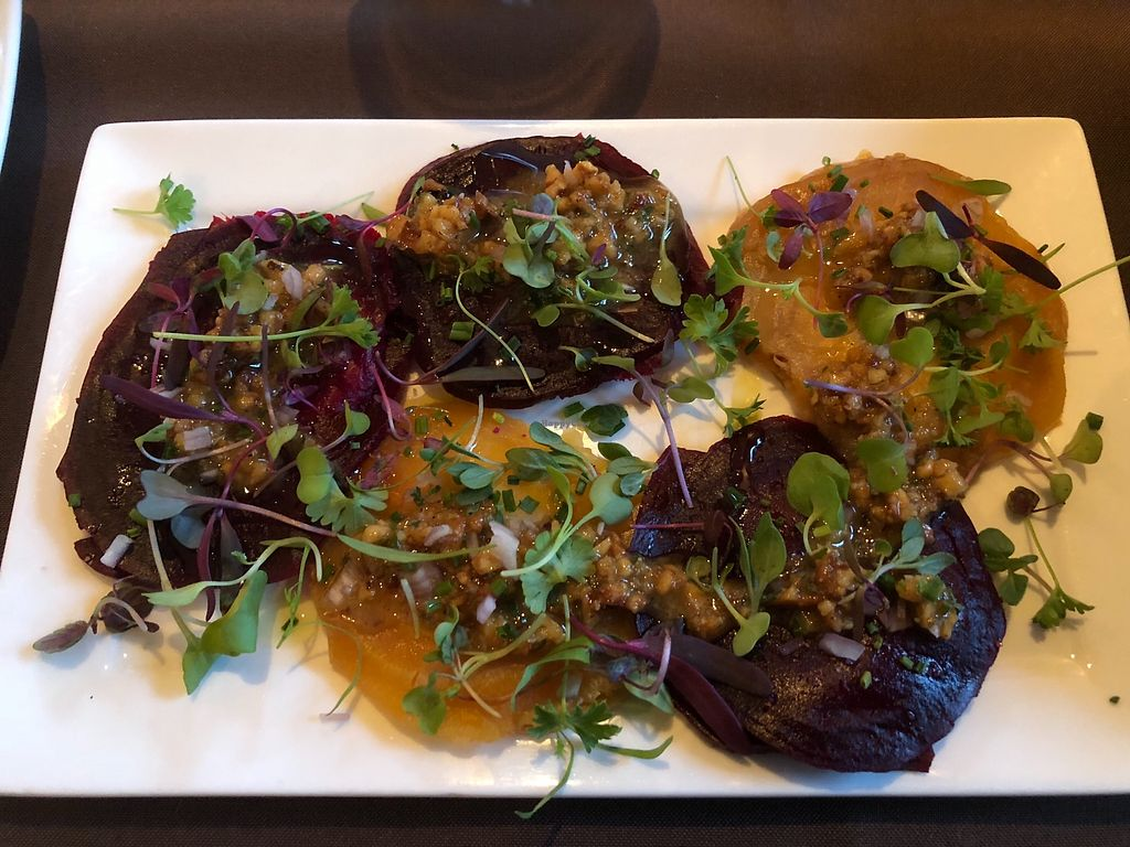 """Photo of Stone Hearth Grille  by <a href=""""/members/profile/lynn_penelope"""">lynn_penelope</a> <br/>Beet ravioli <br/> April 16, 2018  - <a href='/contact/abuse/image/117682/386568'>Report</a>"""