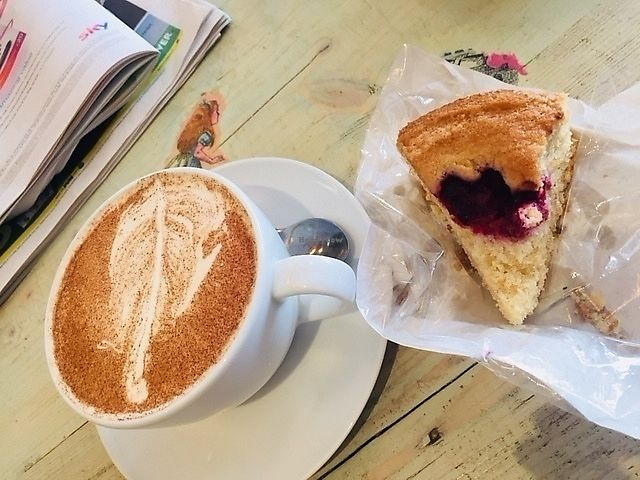"""Photo of The Gratitude Cafe  by <a href=""""/members/profile/ChristianVegan"""">ChristianVegan</a> <br/>Almond and raspberry cake with chai tea <br/> April 15, 2018  - <a href='/contact/abuse/image/117722/386111'>Report</a>"""