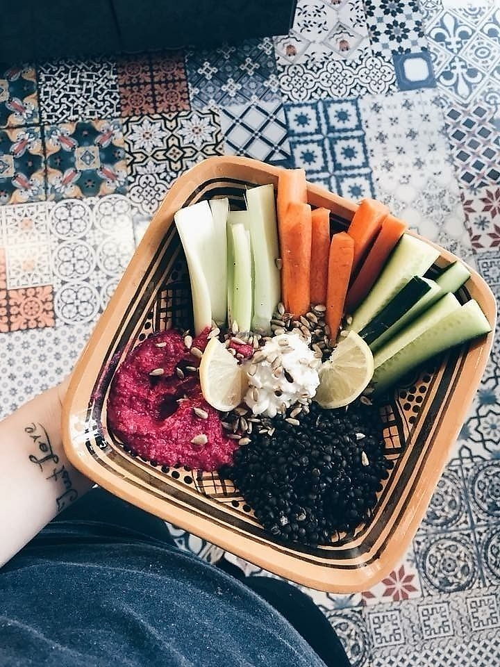 """Photo of Omam  by <a href=""""/members/profile/JaroslavaSvobodov%C3%A1"""">JaroslavaSvobodová</a> <br/>One of the vegan lunch during the week.. A bowl with beetroot hummus, beluga black lentil, cruydite, sunflower seeds.  <br/> April 18, 2018  - <a href='/contact/abuse/image/117733/387538'>Report</a>"""