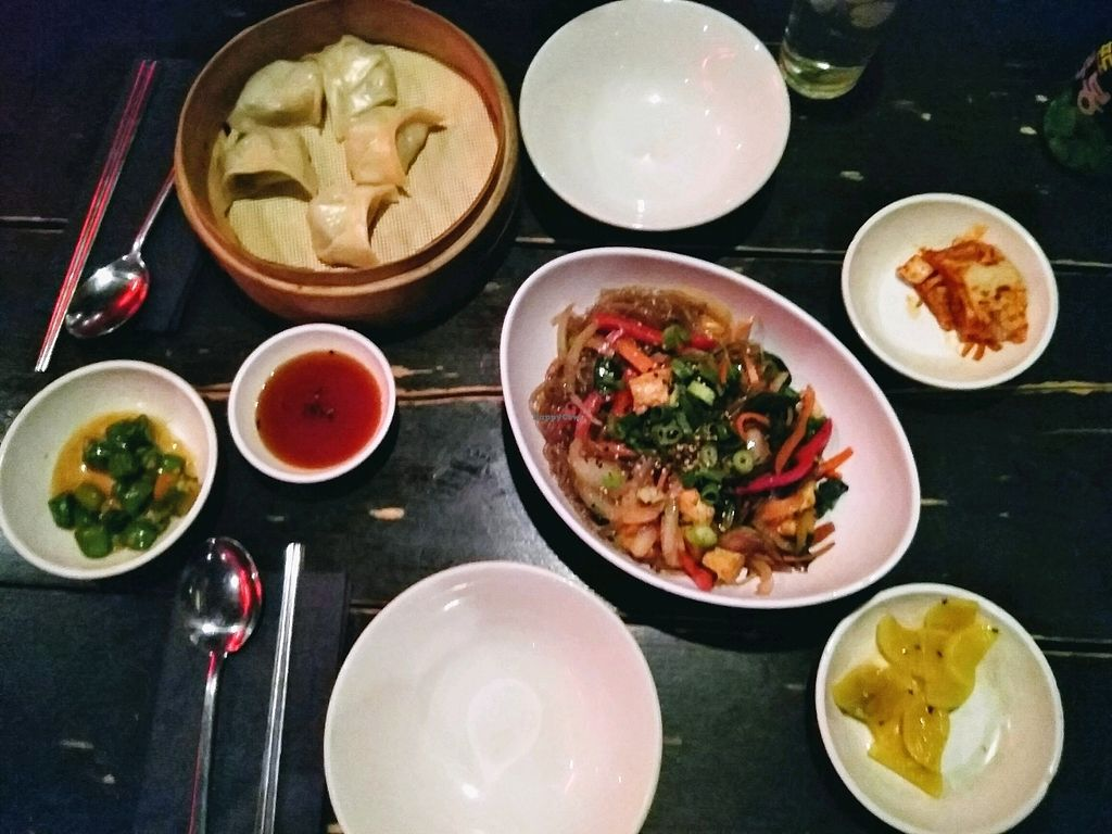 """Photo of Kimchi Princess  by <a href=""""/members/profile/Zjef"""">Zjef</a> <br/>dumplings with dip sauce & glass noodles, kimchi & chilis <br/> April 15, 2018  - <a href='/contact/abuse/image/117764/386154'>Report</a>"""