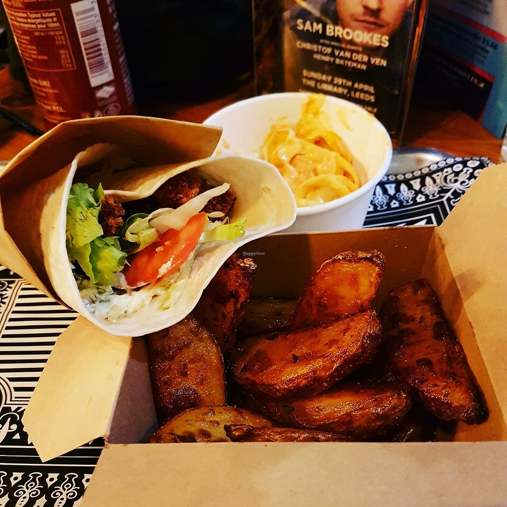 """Photo of Knaves Kitchen - Pop-up  by <a href=""""/members/profile/Elliebecomesthedream"""">Elliebecomesthedream</a> <br/>Seitan fish wrap with slaw and wedges <br/> April 16, 2018  - <a href='/contact/abuse/image/117769/386699'>Report</a>"""