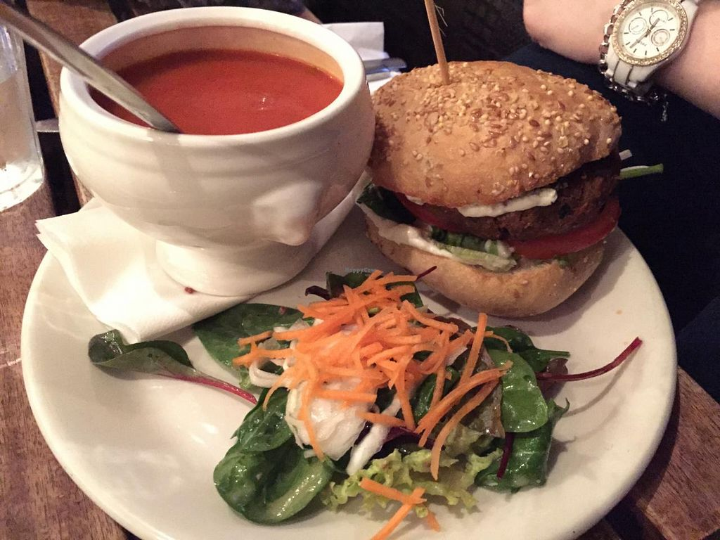 "Photo of The 78  by <a href=""/members/profile/sriblet"">sriblet</a> <br/>Vegan vegetarian 78 classic burger with tomato basil soup <br/> March 8, 2015  - <a href='/contact/abuse/image/11778/95207'>Report</a>"