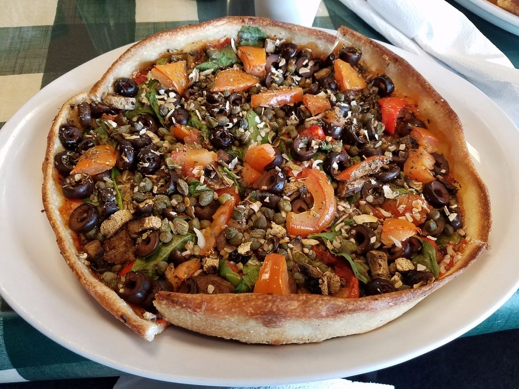 """Photo of Cousin Vinnie's NY Pizza Cafe  by <a href=""""/members/profile/KikoOla"""">KikoOla</a> <br/>Vegan pizza - lots of toppings! <br/> May 31, 2016  - <a href='/contact/abuse/image/11808/151512'>Report</a>"""