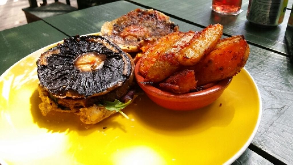"""Photo of Tree-Top Cafe  by <a href=""""/members/profile/Good%20for%20Vegans"""">Good for Vegans</a> <br/>Vegan mushroom burger <br/> June 2, 2016  - <a href='/contact/abuse/image/11818/151905'>Report</a>"""