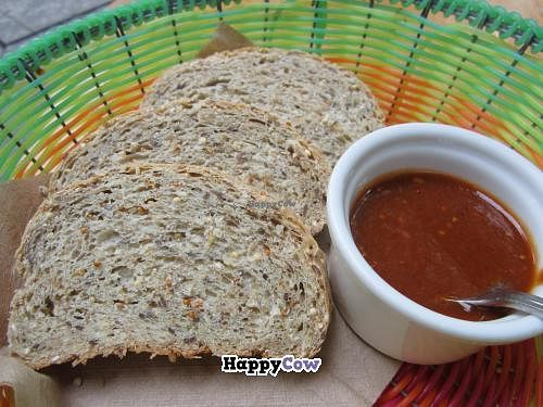 """Photo of Origenes Organicos  by <a href=""""/members/profile/tsmith6"""">tsmith6</a> <br/>whole wheat bread served with salsa <br/> September 15, 2013  - <a href='/contact/abuse/image/11954/54945'>Report</a>"""