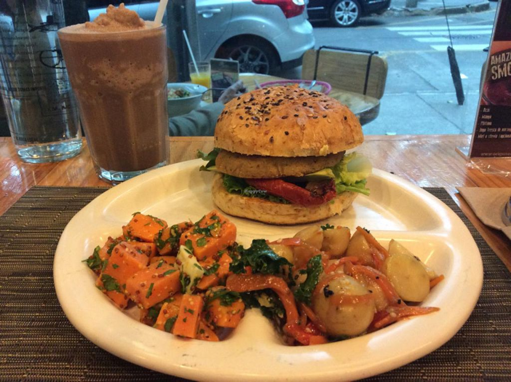 """Photo of Origenes Organicos  by <a href=""""/members/profile/Beanmachine"""">Beanmachine</a> <br/>Chocolate soy milkshake and tofu burger <br/> March 20, 2015  - <a href='/contact/abuse/image/11954/96361'>Report</a>"""