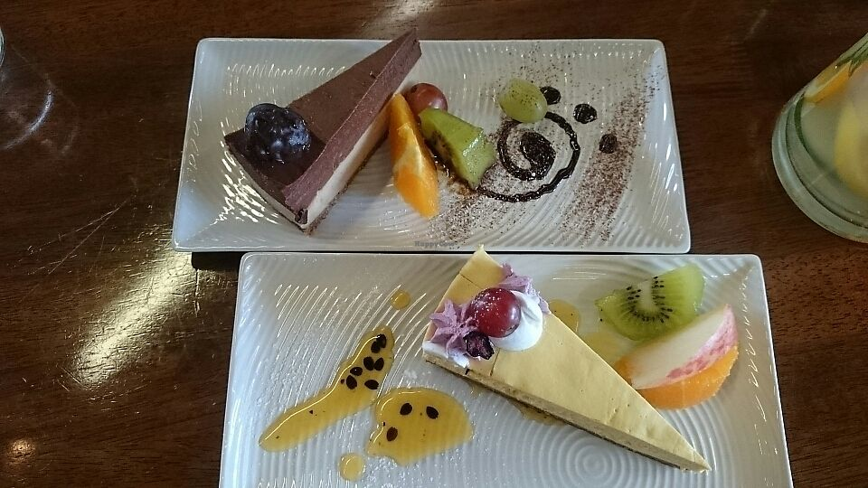 """Photo of Water Drop Vegetarian Cafe  by <a href=""""/members/profile/LisaS."""">LisaS.</a> <br/>Mango cheesecake and marzipan nougat cake  <br/> September 3, 2017  - <a href='/contact/abuse/image/11971/300294'>Report</a>"""