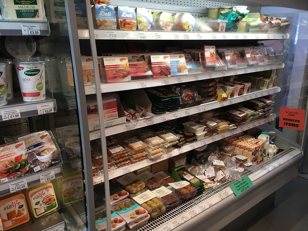 "Photo of Out of This World  by <a href=""/members/profile/hack_man"">hack_man</a> <br/>Fridge fake meat and vegan cheese section  <br/> August 5, 2017  - <a href='/contact/abuse/image/11997/289332'>Report</a>"