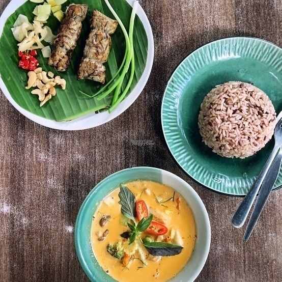 "Photo of Pun Pun Organic Vegetarian Restaurant - Wat Suan Dok  by <a href=""/members/profile/Slang"">Slang</a> <br/>Mushroom sausages & panang curry <br/> September 30, 2016  - <a href='/contact/abuse/image/12006/178646'>Report</a>"