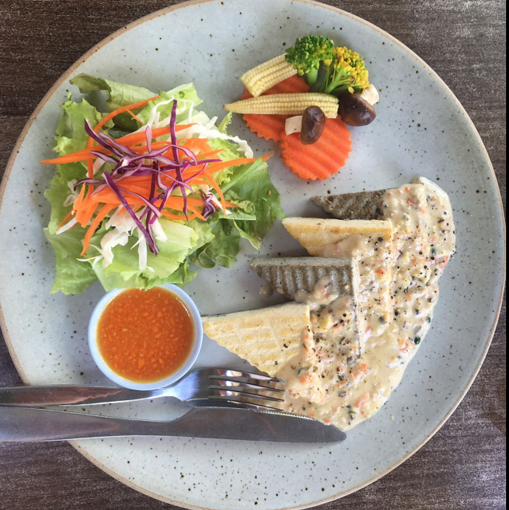 "Photo of Pun Pun Organic Vegetarian Restaurant - Wat Suan Dok  by <a href=""/members/profile/Peace.Nate"">Peace.Nate</a> <br/>tofu steak woth coconut milk and pepper sauce <br/> March 12, 2017  - <a href='/contact/abuse/image/12006/235388'>Report</a>"