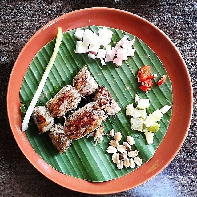 "Photo of Pun Pun Organic Vegetarian Restaurant - Wat Suan Dok  by <a href=""/members/profile/RunEatWorld"">RunEatWorld</a> <br/>Mushroom sausage <br/> June 13, 2017  - <a href='/contact/abuse/image/12006/268602'>Report</a>"