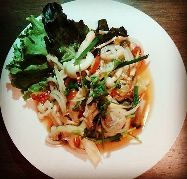 "Photo of Pun Pun Organic Vegetarian Restaurant - Wat Suan Dok  by <a href=""/members/profile/RunEatWorld"">RunEatWorld</a> <br/>Spicy mushroom salad <br/> June 13, 2017  - <a href='/contact/abuse/image/12006/268632'>Report</a>"