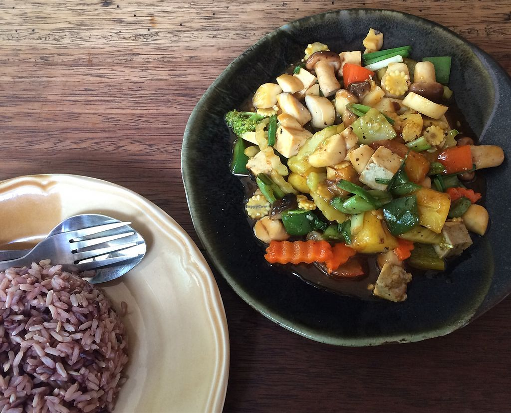 "Photo of Pun Pun Organic Vegetarian Restaurant - Wat Suan Dok  by <a href=""/members/profile/evoontoast"">evoontoast</a> <br/>sweet & sour pineapple, mushroom, veggie dish for 60THB <br/> September 23, 2017  - <a href='/contact/abuse/image/12006/307323'>Report</a>"