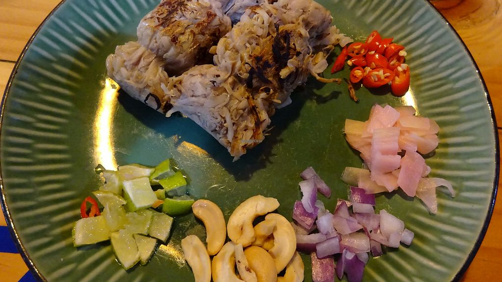 "Photo of Pun Pun Organic Vegetarian Restaurant - Wat Suan Dok  by <a href=""/members/profile/Umeko"">Umeko</a> <br/>fermented mushroom sausage <br/> November 23, 2017  - <a href='/contact/abuse/image/12006/328353'>Report</a>"