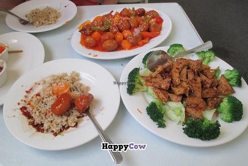 """Photo of Anna's Vegan Cafe  by <a href=""""/members/profile/warmstorage"""">warmstorage</a> <br/>bottom right: the Lucky Lemongrass (tofu with broccoli), top: 'Sweet & Sour Drumstick' <br/> September 19, 2013  - <a href='/contact/abuse/image/12030/55287'>Report</a>"""