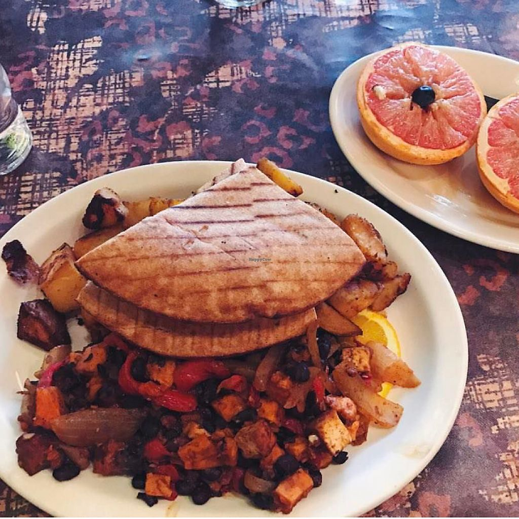 """Photo of Betty's  by <a href=""""/members/profile/De_vegyn"""">De_vegyn</a> <br/>tofu scramble with pita and broiled grapefruit  <br/> June 21, 2017  - <a href='/contact/abuse/image/12043/271715'>Report</a>"""