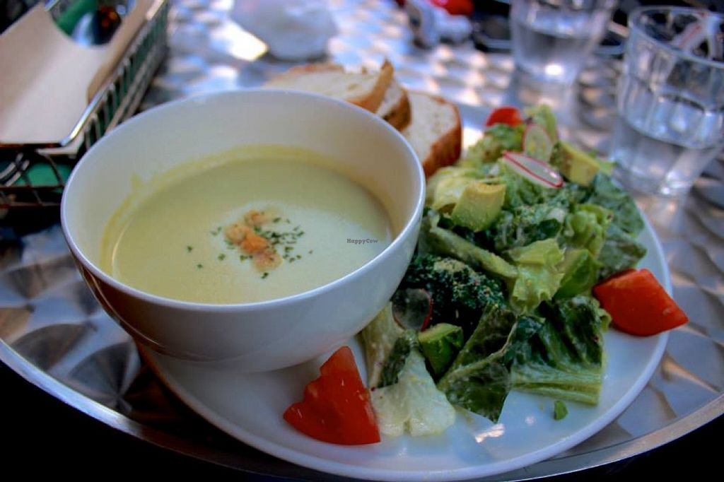 """Photo of Eat More Greens  by <a href=""""/members/profile/SueClesh"""">SueClesh</a> <br/>green pea soup with ceasar salad <br/> November 12, 2015  - <a href='/contact/abuse/image/12049/124673'>Report</a>"""