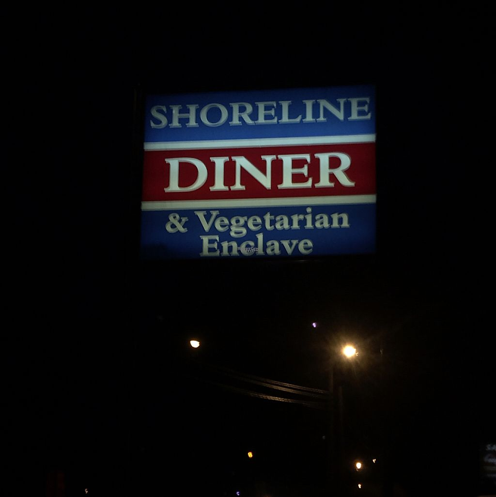 """Photo of Shoreline Diner and Vegetarian Enclave  by <a href=""""/members/profile/Stacie99"""">Stacie99</a> <br/>signage <br/> December 15, 2016  - <a href='/contact/abuse/image/12117/201411'>Report</a>"""
