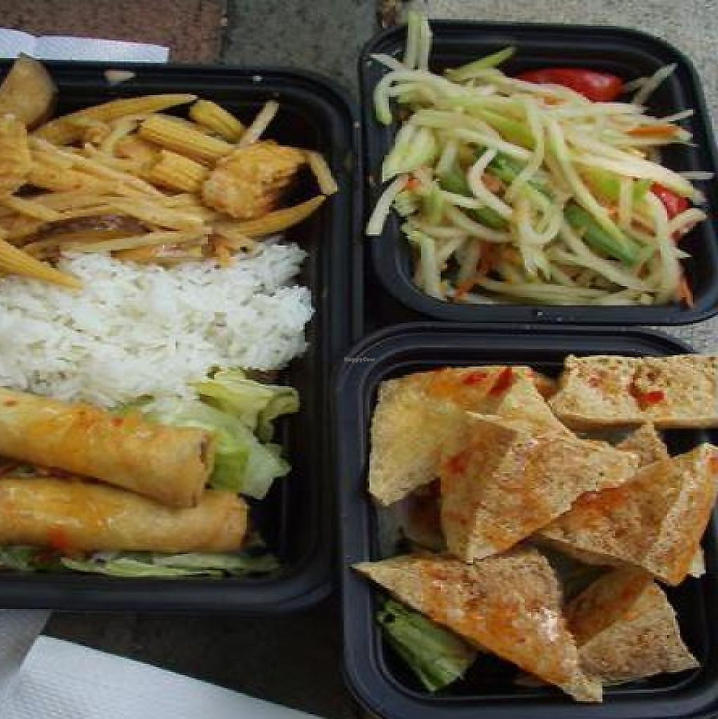 """Photo of Cozy Thai  by <a href=""""/members/profile/PennsyltuckyVeggie"""">PennsyltuckyVeggie</a> <br/>Veggie options from their arts festival stand! <br/> August 11, 2011  - <a href='/contact/abuse/image/12216/223985'>Report</a>"""