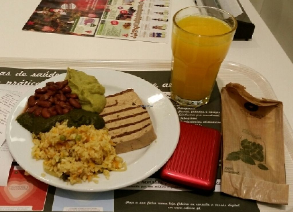 """Photo of Celeiro - Republica  by <a href=""""/members/profile/mbbl"""">mbbl</a> <br/>Grilled tofu, brown rice, brocoli cream, spinach cream and beans <br/> December 26, 2015  - <a href='/contact/abuse/image/12253/241344'>Report</a>"""