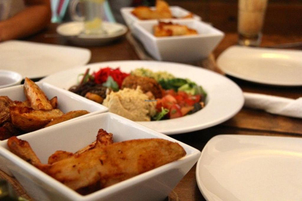 """Photo of Robertson's Organic Cafe  by <a href=""""/members/profile/trinitybourne"""">trinitybourne</a> <br/>Vegan mezze with lots of delicious potato wedges <br/> July 4, 2014  - <a href='/contact/abuse/image/12286/73161'>Report</a>"""