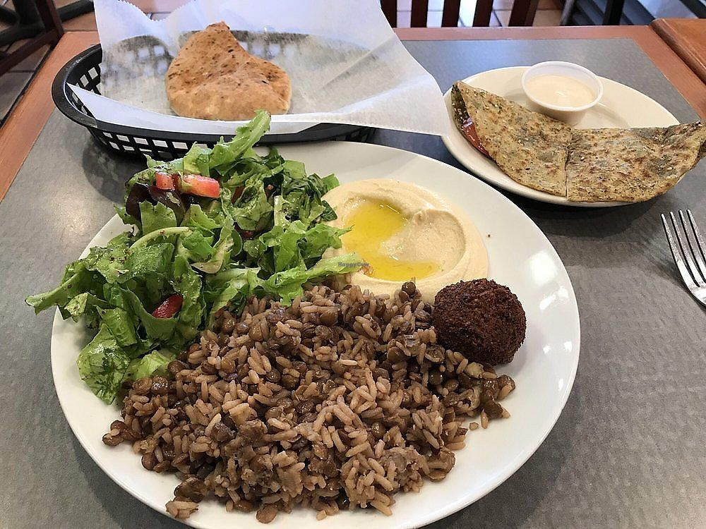 """Photo of Layla's Falafel  by <a href=""""/members/profile/nlevine94"""">nlevine94</a> <br/>Rice and Lentil platter (hummus, salad, pita) and zatar pie on the side with tahini sauce. All fantastic! <br/> November 2, 2017  - <a href='/contact/abuse/image/12329/321266'>Report</a>"""
