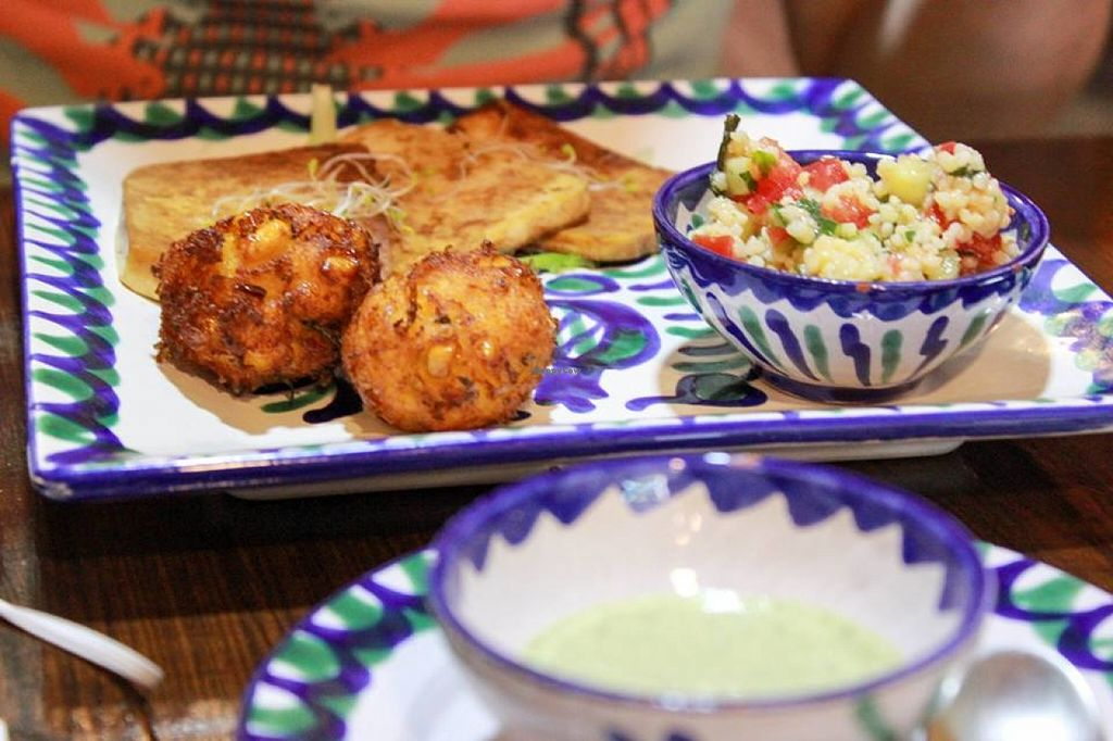 "Photo of El Piano  by <a href=""/members/profile/SueClesh"">SueClesh</a> <br/>baked tofu, corn fritters and couscous salad <br/> June 23, 2016  - <a href='/contact/abuse/image/12331/155735'>Report</a>"