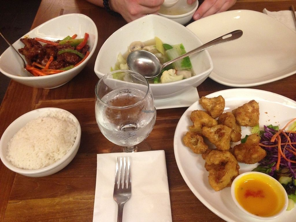 """Photo of Padmanadi  by <a href=""""/members/profile/Mon7que"""">Mon7que</a> <br/>Top left: teriyaki chick'n, wonton soup and breaded cauliflower bites.  All very good! :)  I definitely recommend the Kung pao chick'n and ginger beef not pictured. :) the king pao chick'n is great with their vernecelli noodles.  <br/> February 26, 2017  - <a href='/contact/abuse/image/1240/230612'>Report</a>"""