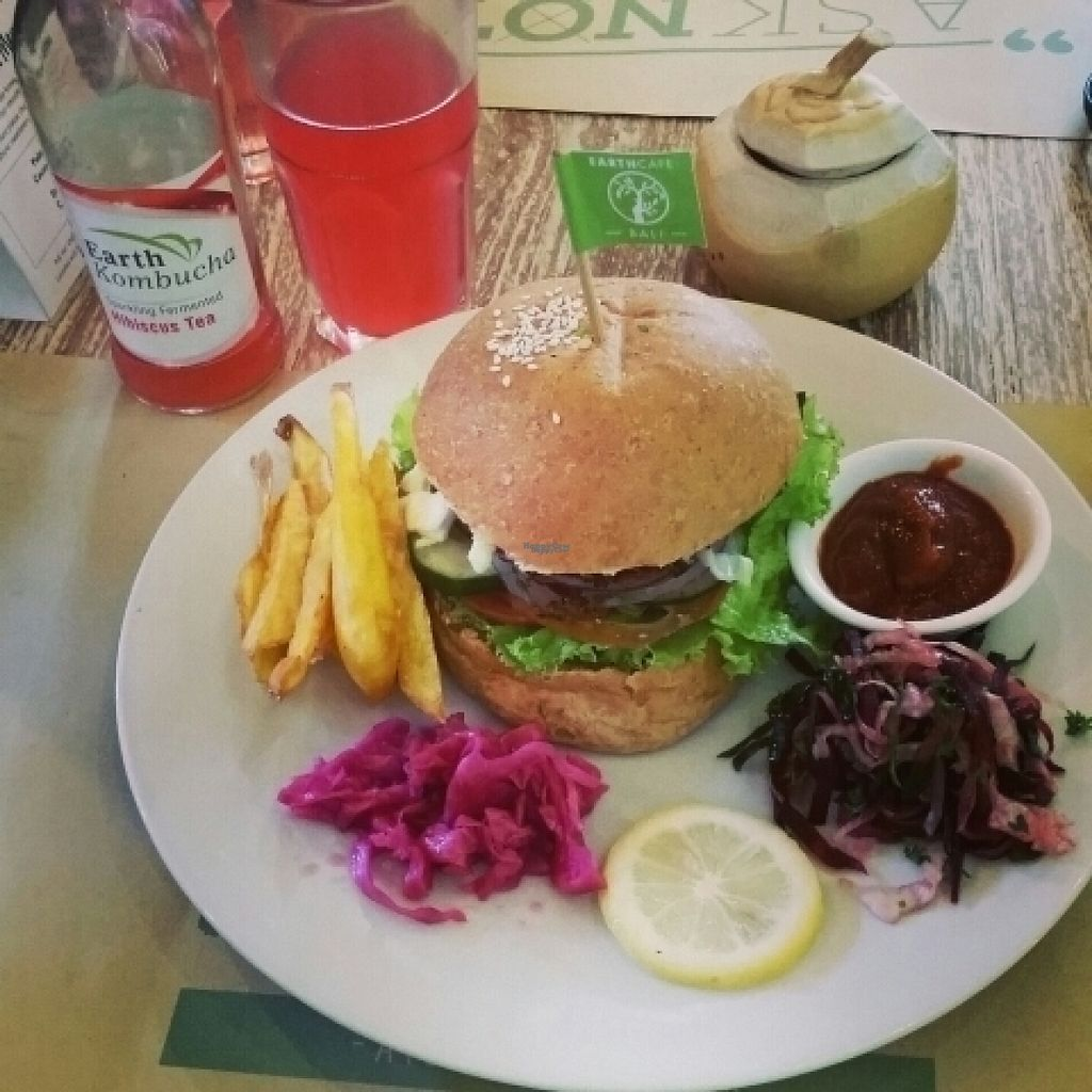 """Photo of Earth Cafe and Market - Seminyak  by <a href=""""/members/profile/AlfalfaKitty"""">AlfalfaKitty</a> <br/>veggie burger <br/> November 6, 2016  - <a href='/contact/abuse/image/12414/186817'>Report</a>"""