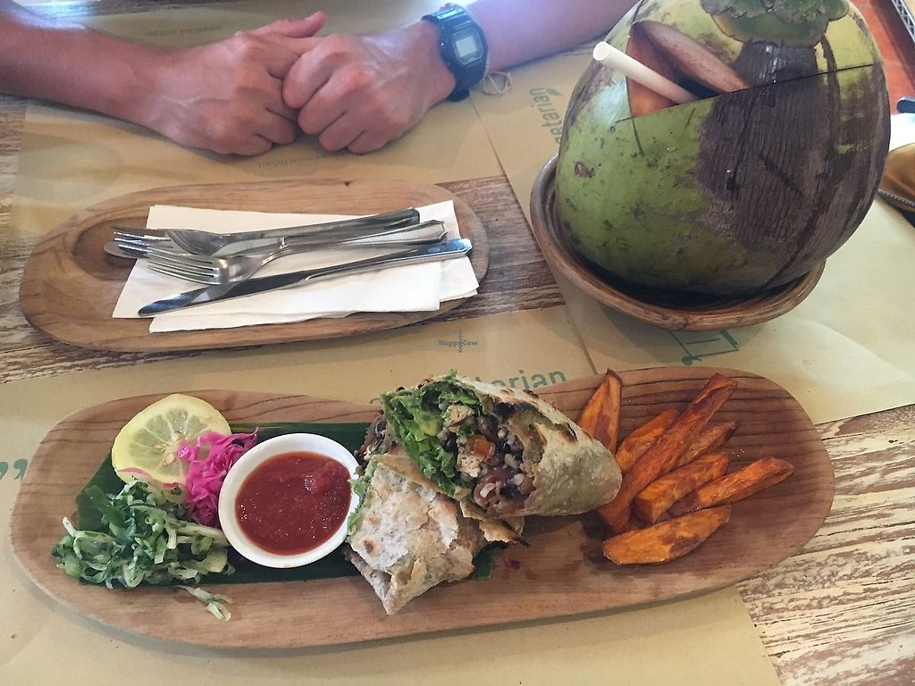 """Photo of Earth Cafe and Market - Seminyak  by <a href=""""/members/profile/Tisa93"""">Tisa93</a> <br/>Burrito and whole young coconut  <br/> January 18, 2018  - <a href='/contact/abuse/image/12414/378007'>Report</a>"""