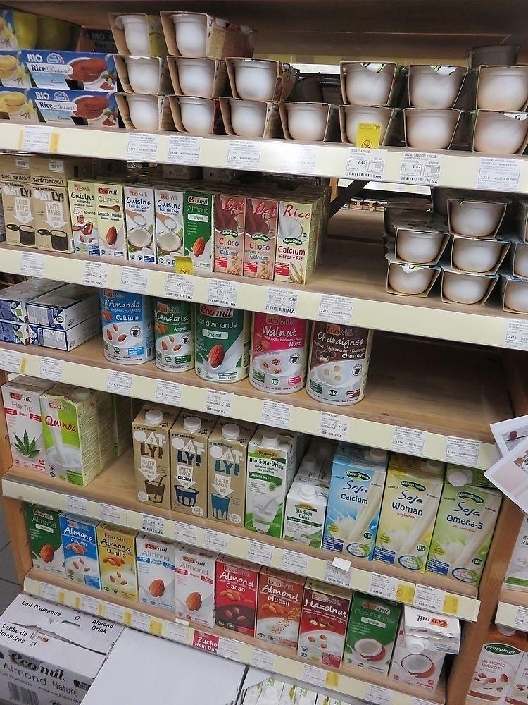 "Photo of Biomarkt  by <a href=""/members/profile/TrudiBruges"">TrudiBruges</a> <br/>plant based milk drinks at Biomarkt, Kortrijk <br/> November 20, 2017  - <a href='/contact/abuse/image/12517/327506'>Report</a>"