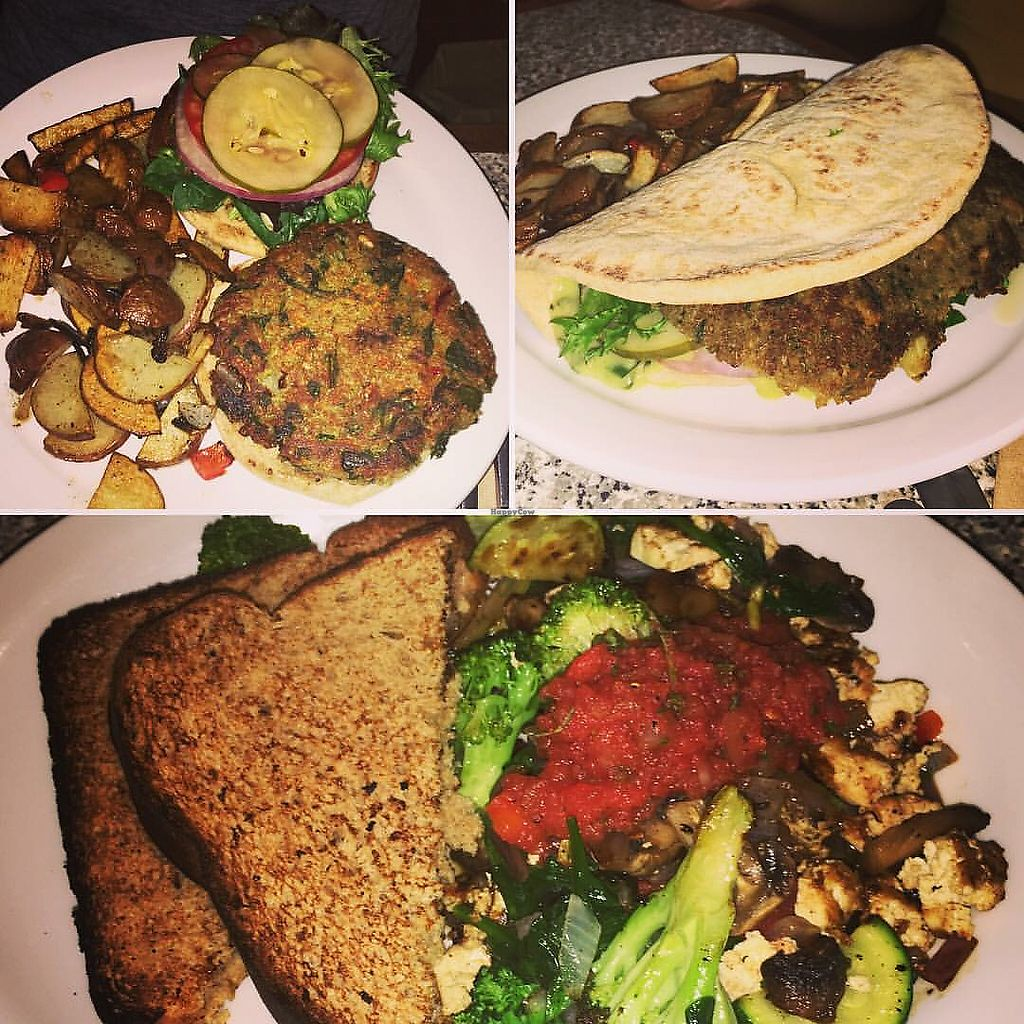 "Photo of Sunrise Cafe  by <a href=""/members/profile/Tabgreenvegan"">Tabgreenvegan</a> <br/>Sunrise burger, falafel + tofu veg scramble!  <br/> March 28, 2018  - <a href='/contact/abuse/image/12570/377463'>Report</a>"
