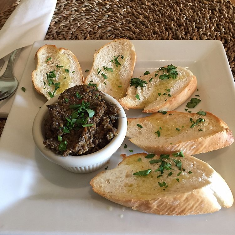 """Photo of Cafe Botanika  by <a href=""""/members/profile/pjp"""">pjp</a> <br/>Garlic bread and olive tapenade  <br/> July 14, 2017  - <a href='/contact/abuse/image/12603/280167'>Report</a>"""