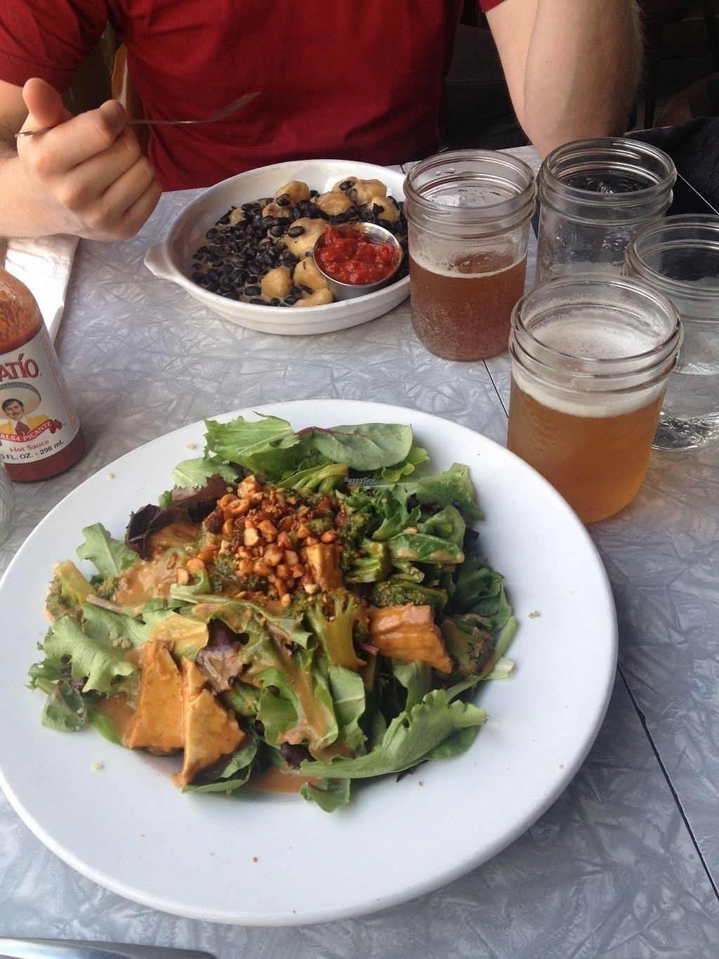 """Photo of CLOSED: The Foundation Lounge  by <a href=""""/members/profile/o0Carolyn0o"""">o0Carolyn0o</a> <br/>Tofu and peanut sauce salad(below), and beans with banana(above) <br/> September 26, 2016  - <a href='/contact/abuse/image/1264/178106'>Report</a>"""