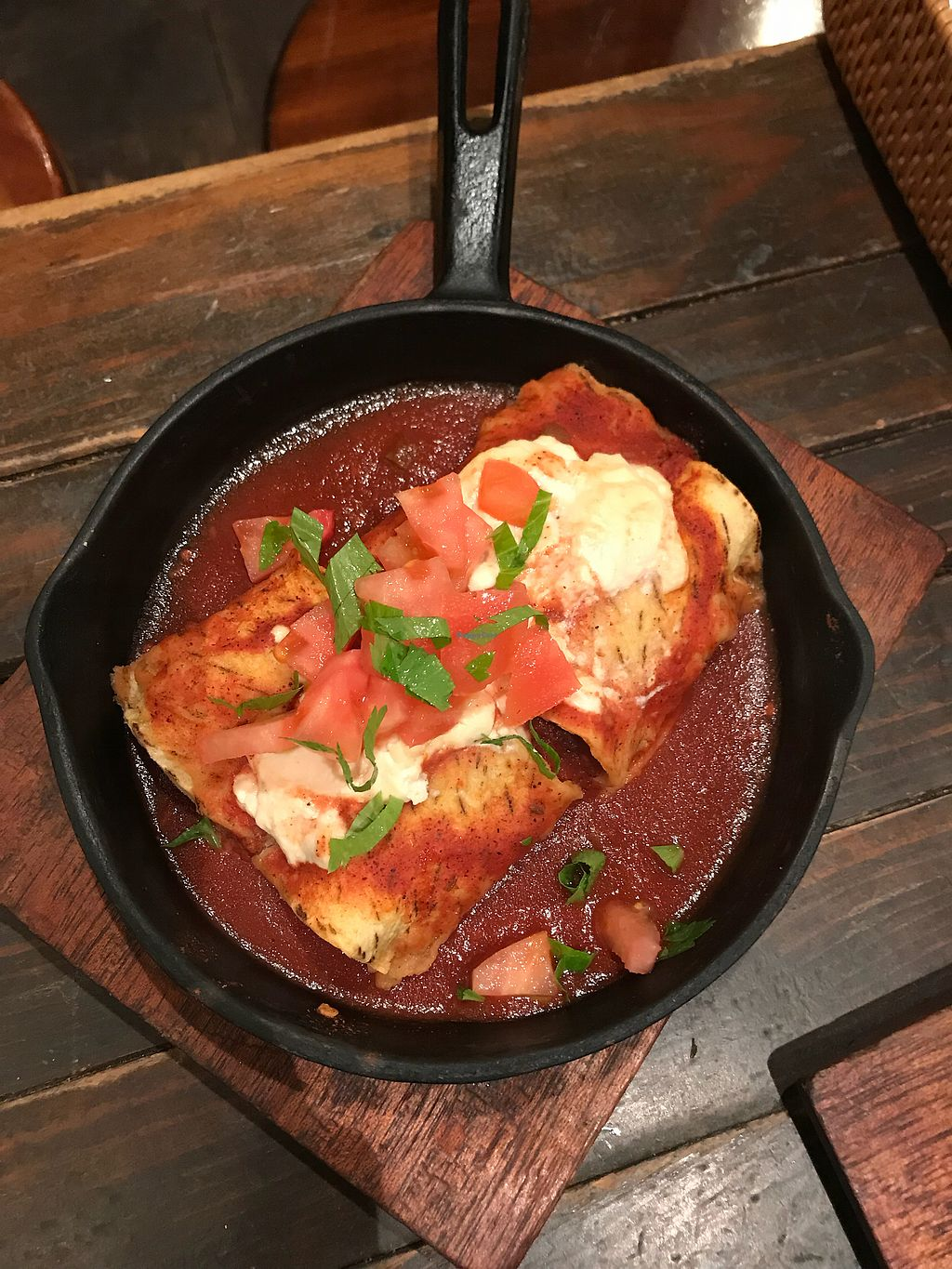 """Photo of Otis!  by <a href=""""/members/profile/JoannaWatts"""">JoannaWatts</a> <br/>Loved the enchiladas with vegan cheese <br/> April 17, 2018  - <a href='/contact/abuse/image/12703/387196'>Report</a>"""