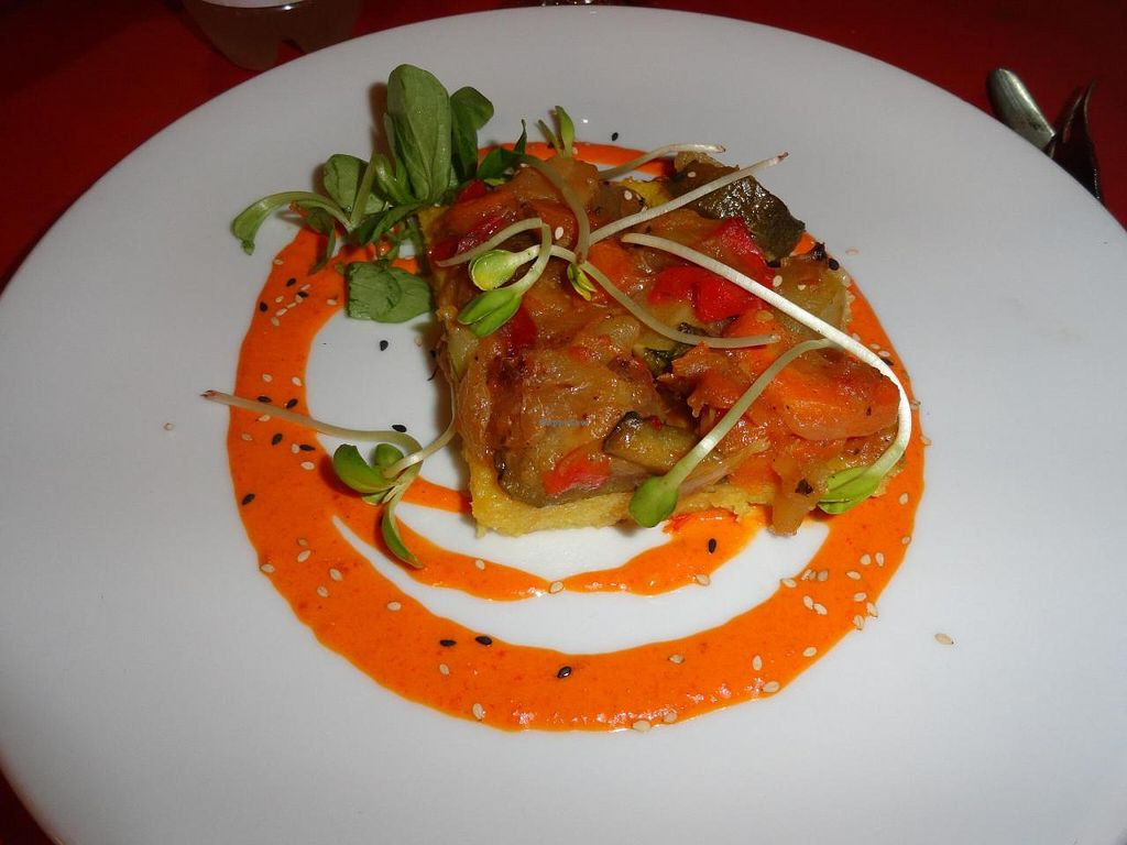 """Photo of L'Hortet  by <a href=""""/members/profile/JonJon"""">JonJon</a> <br/>Polenta with fried vegetables and carot cream <br/> August 4, 2014  - <a href='/contact/abuse/image/12712/75961'>Report</a>"""
