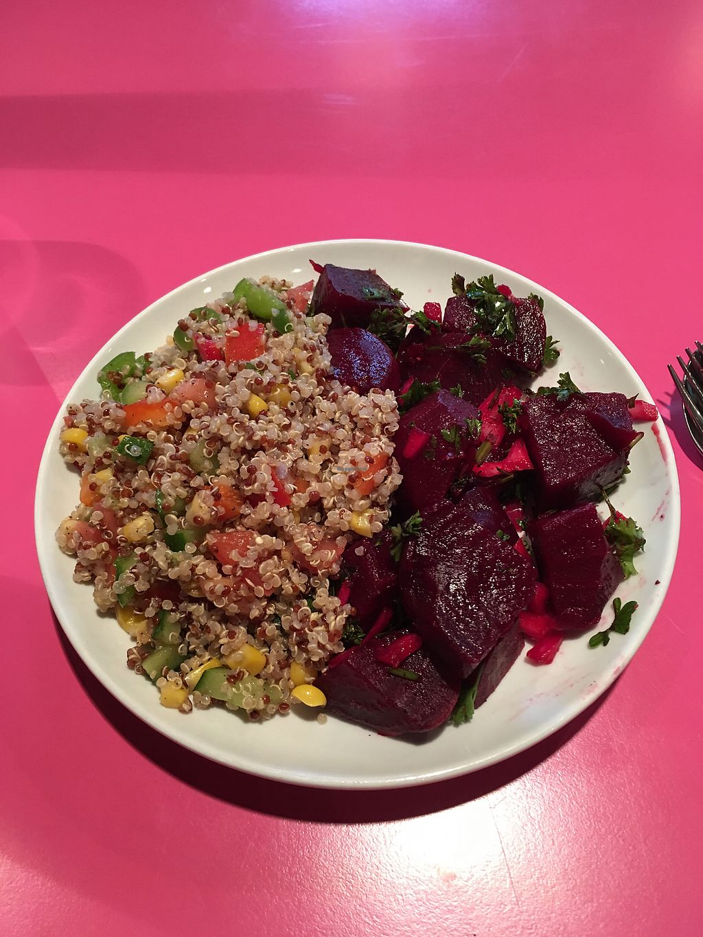 """Photo of Sweet Cherubim Restaurant and Bakery  by <a href=""""/members/profile/P%40ulie"""">P@ulie</a> <br/>quinoa and beetroot salads <br/> July 11, 2017  - <a href='/contact/abuse/image/1272/279011'>Report</a>"""