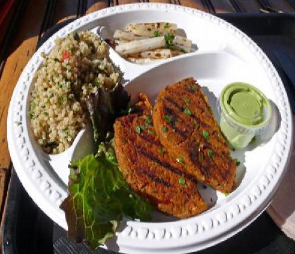 """Photo of CLOSED: HealthyCA  by <a href=""""/members/profile/quarrygirl"""">quarrygirl</a> <br/>Veggie delight: vegan macrobiotic tofu-grain patty with pesto sauce <br/> December 26, 2011  - <a href='/contact/abuse/image/12736/189479'>Report</a>"""