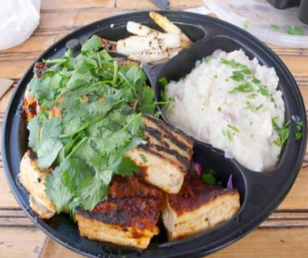 """Photo of CLOSED: HealthyCA  by <a href=""""/members/profile/quarrygirl"""">quarrygirl</a> <br/>Vegan feast: tofu trio (teriyaki, tomato and ginger olive) on a bed of red cabbage <br/> December 26, 2011  - <a href='/contact/abuse/image/12736/189481'>Report</a>"""