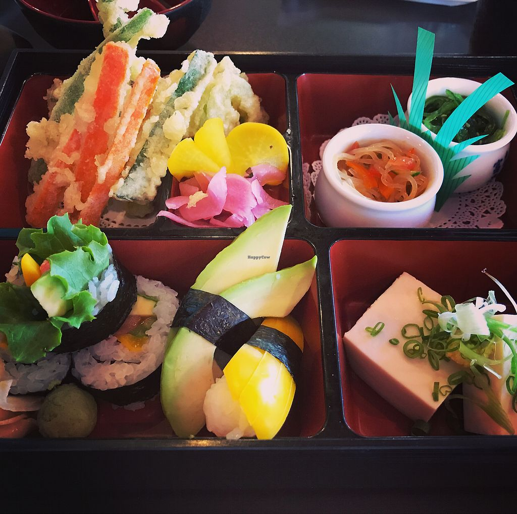 "Photo of Midori's Floating World Cafe  by <a href=""/members/profile/KarenTatur"">KarenTatur</a> <br/>Vegan Bento Box <br/> November 26, 2017  - <a href='/contact/abuse/image/12770/329432'>Report</a>"