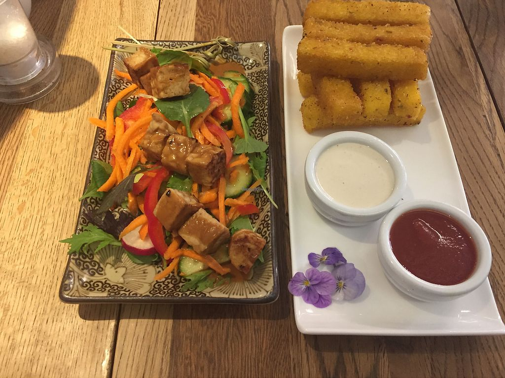 """Photo of The Lotus-Heart Restaurant and Tea House  by <a href=""""/members/profile/danhosk"""">danhosk</a> <br/>Marinated tempeh and polenta fries (both starters) <br/> January 13, 2018  - <a href='/contact/abuse/image/12785/346051'>Report</a>"""
