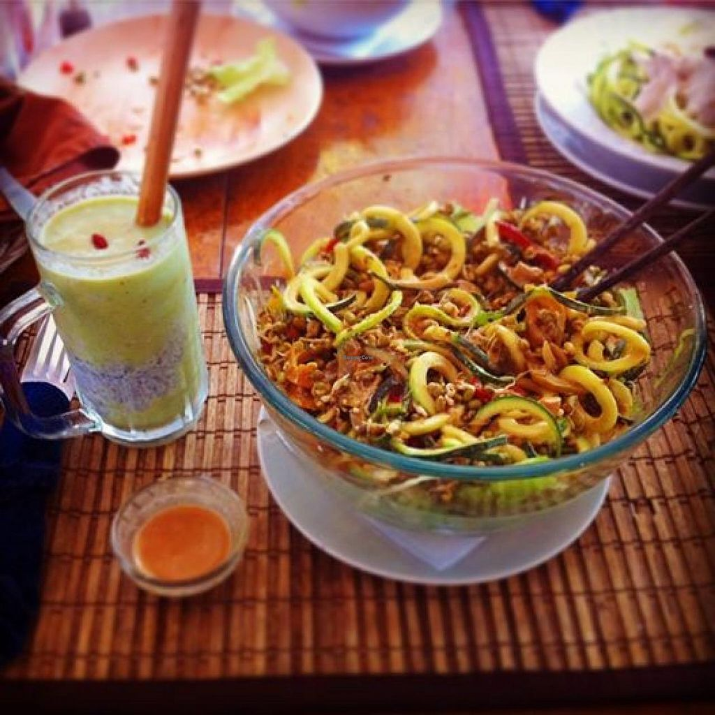 """Photo of Bean Me Up  by <a href=""""/members/profile/hazarussell"""">hazarussell</a> <br/>Raw Pad Thai noodles with superfood smoothie... Check out instagram.com/hazarussell as i posted more photos from this place! Best vegan place we have found in Goa :D <br/> February 16, 2015  - <a href='/contact/abuse/image/12800/93209'>Report</a>"""