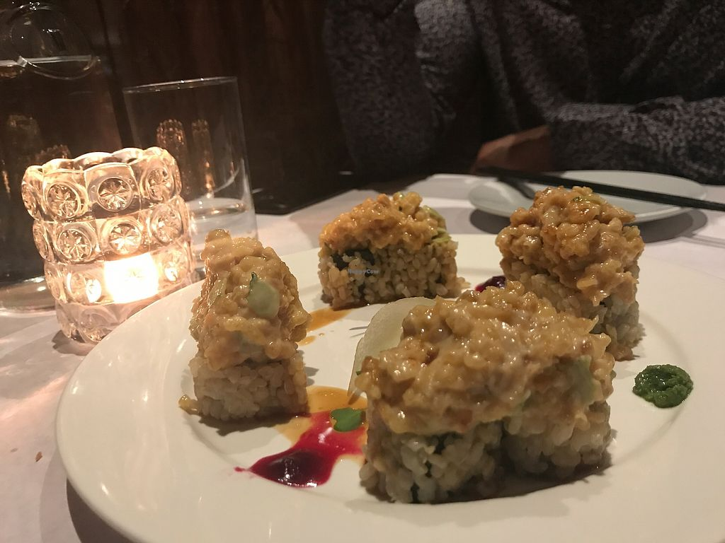 """Photo of Shojin - Downtown LA  by <a href=""""/members/profile/crturner25"""">crturner25</a> <br/>Crunchy Tiger roll!  Actual crunch to it -- amazing flavor!  <br/> September 18, 2017  - <a href='/contact/abuse/image/12808/305741'>Report</a>"""