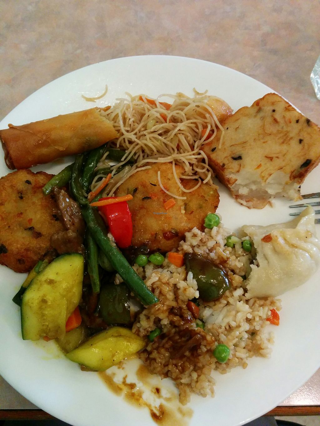 """Photo of Lotus Pond  by <a href=""""/members/profile/CLRtraveller"""">CLRtraveller</a> <br/>My partially eaten buffet plate, which cost a very reasonable C$12 or so <br/> April 20, 2018  - <a href='/contact/abuse/image/1280/388326'>Report</a>"""