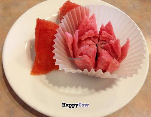 """Photo of Lotus Pond  by <a href=""""/members/profile/blisssu"""">blisssu</a> <br/>Lotus flower cake and watermelon chunks: Rice and wheat flour pastry with red bean paste and brown sugar filling <br/> September 23, 2013  - <a href='/contact/abuse/image/1280/55531'>Report</a>"""