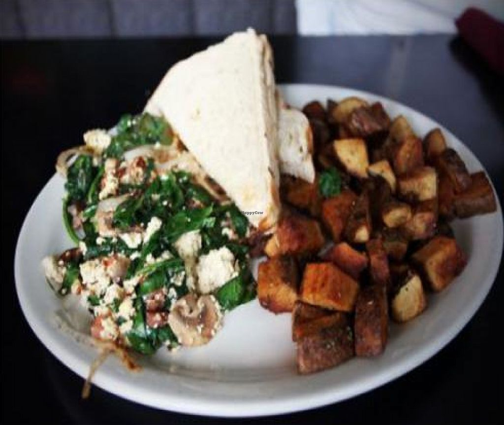 """Photo of Hungry Tiger  by <a href=""""/members/profile/quarrygirl"""">quarrygirl</a> <br/>portobello scramble: fresh portobello mushrooms with tofu, garlic, spinach, mushrooms and nutrtional yeast. with hashbrowns and toast <br/> December 26, 2011  - <a href='/contact/abuse/image/12821/189542'>Report</a>"""