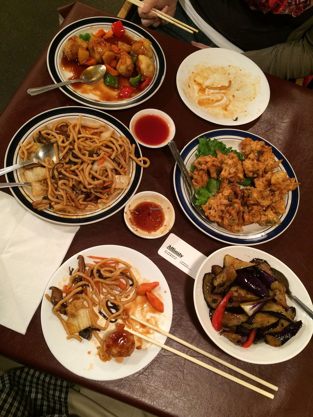 "Photo of Affinity Vegetarian Garden  by <a href=""/members/profile/sniph10"">sniph10</a> <br/>Various menu items. Lots of leftovers for 2 people. Bottom right is Menu Item # 19. Eggplants in Black Bean Sauce <br/> January 16, 2016  - <a href='/contact/abuse/image/1288/132607'>Report</a>"