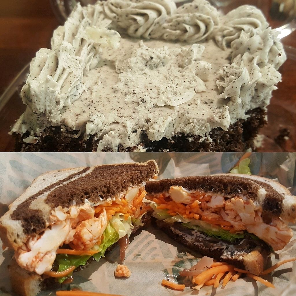 """Photo of Whole Foods Market  by <a href=""""/members/profile/VegManda"""">VegManda</a> <br/>Cookies and Creme Cake and Buffalo Cauliflower Sandwich  <br/> September 25, 2017  - <a href='/contact/abuse/image/12896/308111'>Report</a>"""